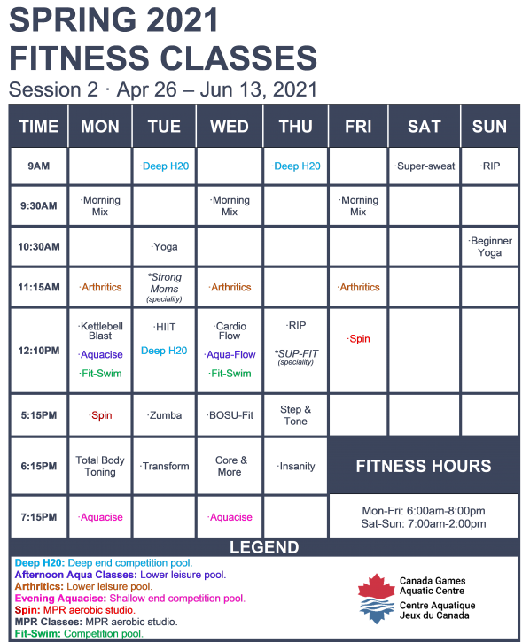 Spring 2021 Fitness Classes Session 2