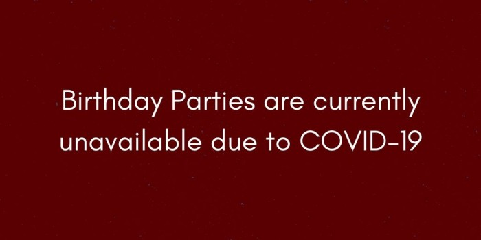 Birthday Parties are currently unavailable due to COVID 19