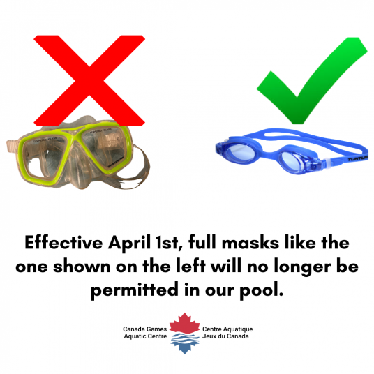 Full masks are not permitted